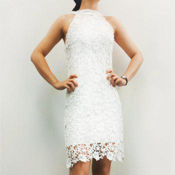 Elegant Women's Round Neck Sleeveless Lace Mini Dress
