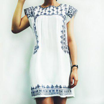 Ethnic Style Printed Cap Sleeve Mini T-Shirt Dress For Women