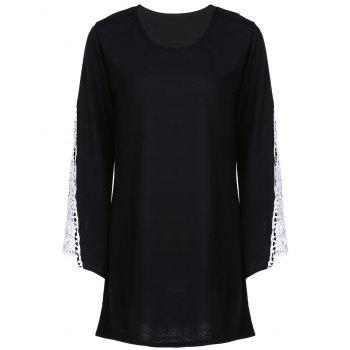 Casual V-Neck Crochet Spliced Bell Bottom Sleeve T-Shirt Dress For Women