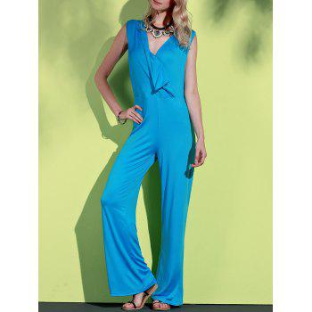 Elegant Plunging Neck Sleeveless Blue Wide-Leg Jumpsuit For Women