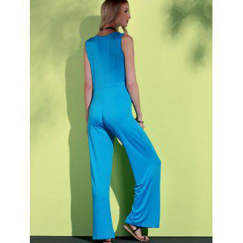 Elegant Plunging Neck Sleeveless Blue Wide-Leg Jumpsuit For Women - XL XL