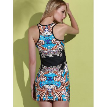 Alluring Sleeveless Round Neck Printed Women's Dress - M M