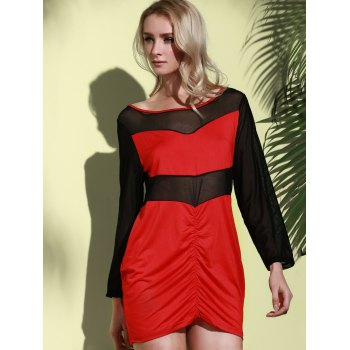 Sexy Long Sleeve Scoop Collar See-Through Women's Dress - RED RED