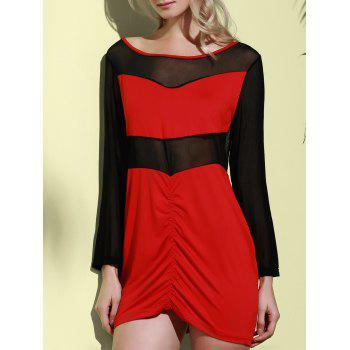 Sexy Long Sleeve Scoop Collar See-Through Women's Dress - RED XL