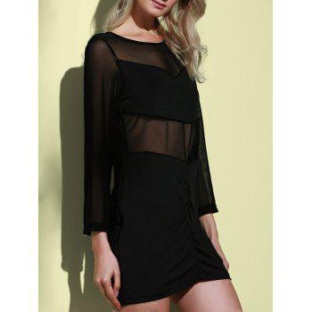 Sexy Long Sleeve Scoop Collar See-Through Women's Dress - BLACK BLACK