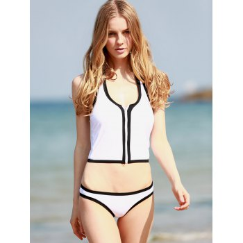 Halter Neck Zippered Black and White Tankini - WHITE/BLACK XL