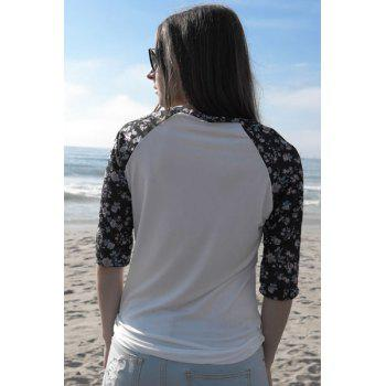 Chic Scoop Collar 3/4 Sleeve Floral Print Spliced Women's T-Shirt