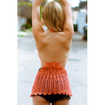 Sexy Women's Halter Crochet Openwork Dress - ORANGE RED ONE SIZE(FIT SIZE XS TO M)