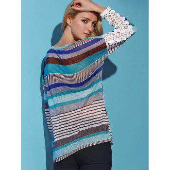 Trendy Colorful Striped Lace Spliced Long Sleeve T-Shirt For Women - LAKE BLUE M