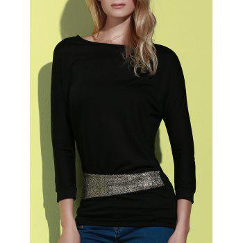 Sequin Embellished Packet Buttock Cotton Blend T-Shirt