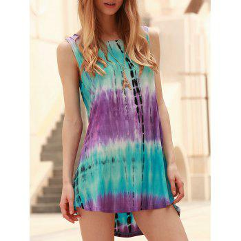 Round Collar Tie Dye Summer Dress For Women