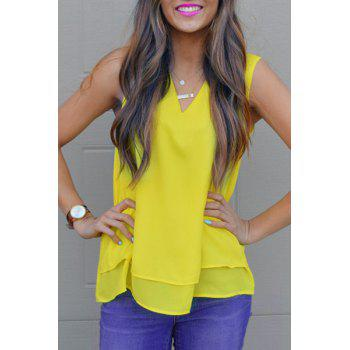 Stylish Solid Color V-Neck Back Criss-Cross Chiffon Tank Top For Women