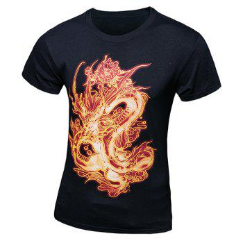 Casual Pullover Fiery Dragon Printing Short Sleeves T-Shirt For Men