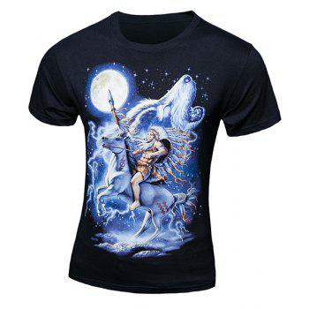 Casual Pullover Horse Wolf Printing Short Sleeves T-Shirt For Men