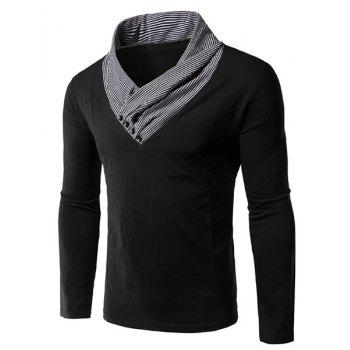 Men's Slim Fit Long Sleeves Color Block Special Neck T-Shirt