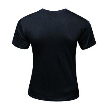 3D Triangle and Rainbow Print Round Neck Short Sleeve Slimming Men's T-Shirt - BLACK L
