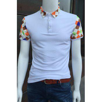 Colorful Argyle Spliced Turn-Down Collar Short Sleeve Men's Polo T-Shirt