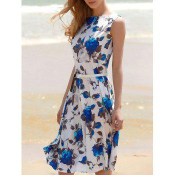 Sleeveless Floral Print Belted Dress