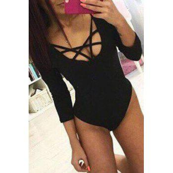 Sexy U Neck Long Sleeve Criss-Cross Low-Cut Solid Color Women's Bodysuit