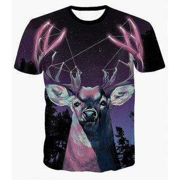 Starry Sky and Deer Print Round Neck Short Sleeves Men's 3D T-Shirt