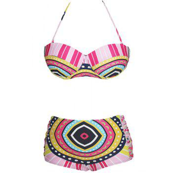 Buy Chic Women's Halter Geometrical Print Push Bikini Set COLORMIX