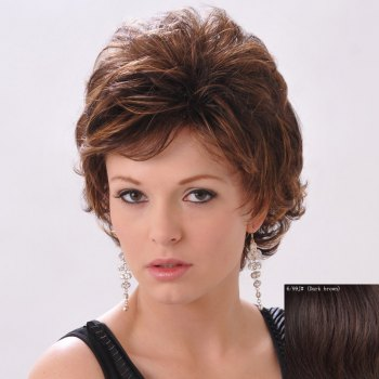 Shaggy Curly Human Hair Side Bang Short Wig For Women
