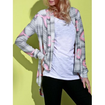 Vintage Long Sleeve Geometric Printed Asymmetric Cardigan For Women