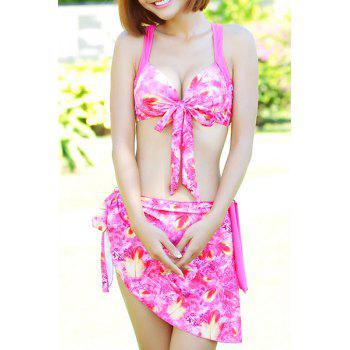 Sweet Lace-Up Spaghetti Strap Tiny Floral Three-Piece Women's Swimsuit