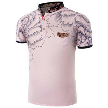 Hot Sale Stand Collar Floral Printing Short Sleeve Men's T-Shirt - PINK PINK