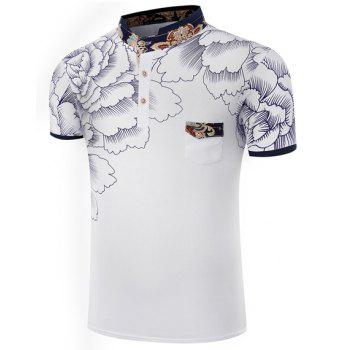 Hot Sale Stand Collar Floral Printing Short Sleeve Men's T-Shirt