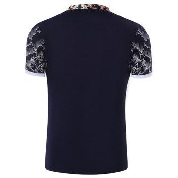 Hot Sale Stand Collar Floral Printing Short Sleeve Men's T-Shirt - L L