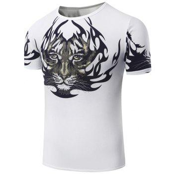 Hot Sale Round Neck Tiger Pattern Print Short Sleeve Men's T-Shirt
