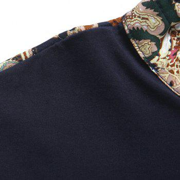 Hot Sale Stand Collar Floral Print Zipper Design Short Sleeve Men's T-Shirt - L L