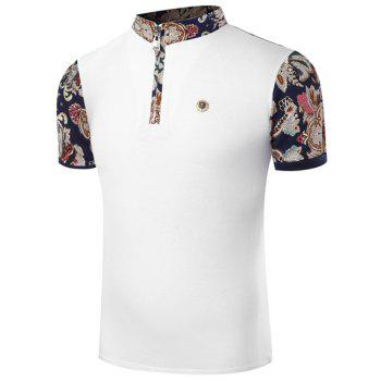 Hot Sale Stand Collar Floral Print Zipper Design Short Sleeve Men's T-Shirt - WHITE L