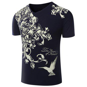 Hot Sale V-Neck Floral Print Short Sleeve Men's T-Shirt - SAPPHIRE BLUE L