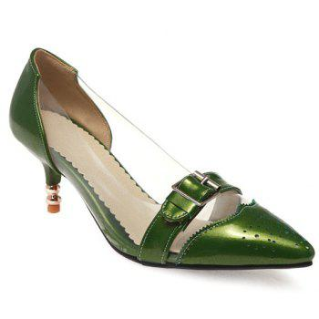 Fashion Patent Leather and Buckle Design Pumps For Women