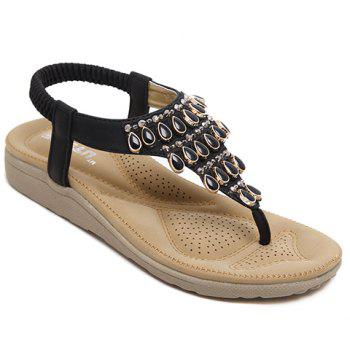 Casual Flip Flop and Beading Design Women's Sandals - BLACK 38