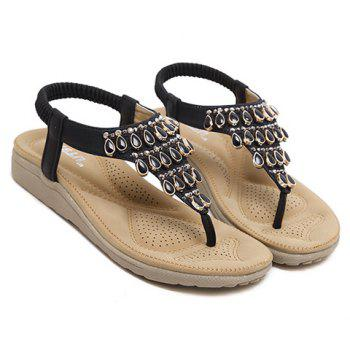 Casual Flip Flop and Beading Design Women's Sandals - BLACK 39