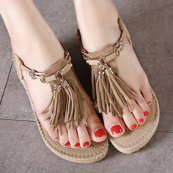 Leisure Solid Colour and Tassels Design Women's Sandals - 39 39