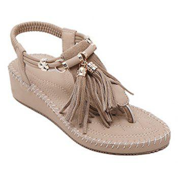 Leisure Solid Colour and Tassels Design Women's Sandals - LIGHT KHAKI 39