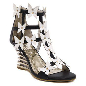 Trendy Wedge Heel and Bowknot Design Women's Sandals