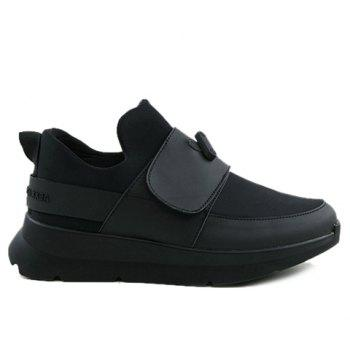 Stylish Black Colour and PU Leather Design Men's Athletic Shoes - 43 43