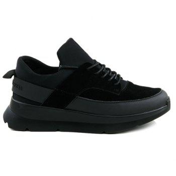Stylish Black Colour and Splicing Design Men's Athletic Shoes - BLACK BLACK
