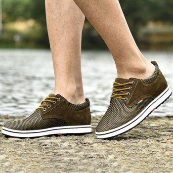 Casual Hidden Wedge and Lace-Up Design Sneakers For Men - KHAKI 41