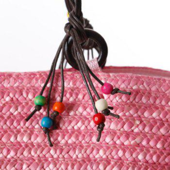 Bohemian Color Block and Embroidery Design Women's Shoulder Bag - PINK