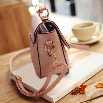 Cute Metal and Colour Block Design Women's Crossbody Bag - PINK