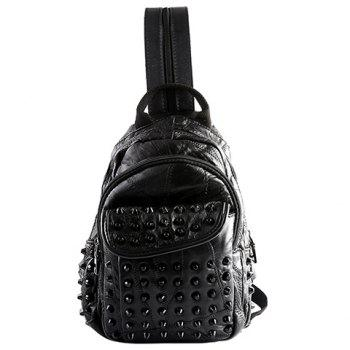 Fashion PU Leather and Rivets Design Backpack For Men - BLACK BLACK