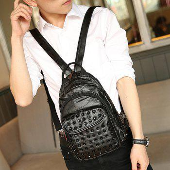 Fashion PU Leather and Rivets Design Backpack For Men -  BLACK
