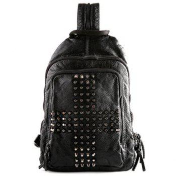 Casual PU Leather and Rivets Design Backpack For Men