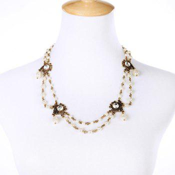 Gorgeous Multilayered Rhinestone Faux Pearl Necklace For Women